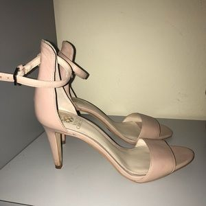Tan open toed heels